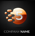 silver number five logo gold dots splash bubble vector image vector image
