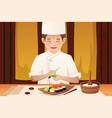 sushi chef working in a restaurant vector image