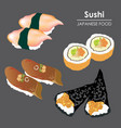 sushi roll food japanese rice seafood vector image