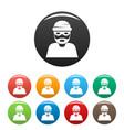 thief icons set color vector image