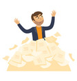 tired businessman overwork paper heap vector image vector image