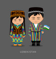 uzbeks in national dress with a flag vector image vector image