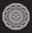 white round ethnic mandala on black background vector image