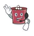 with headphone hot chocolate mascot cartoon vector image