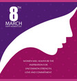 womens day typogrpahic design with purple and vector image