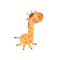 joyful baby giraffe in playing action cartoon vector image