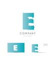 e blue letter alphabet logo icon design vector image