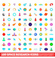 100 space research icons set cartoon style vector image vector image