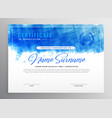 abstract blue diploma certificate design vector image vector image