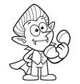 black and white dracula mascot and phone vector image