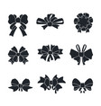 black bows and ribbons gift ties silhouettes vector image