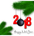 bowling ball and 2018 on a christmas tree branch vector image vector image