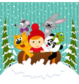 boy and animals together sledging vector image