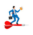 businessman on dart aim arrow to target vector image