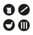 Chemical laboratory icons vector image vector image