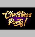 christmas party 3d gold golden text metal logo vector image