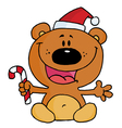 Christmas Teddy Bear Holding A Candy Cane vector image vector image