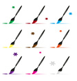 color paint brush and paint icons set eps10 vector image vector image