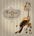 cup of coffee with cake and coffee beans vector image vector image