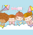 cute babies in the clouds with kites toys vector image