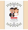 cute cartoon bride groom weddign card design vector image