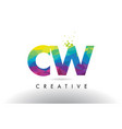 cw c w colorful letter origami triangles design vector image vector image