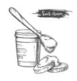 dairy products sour cream sketch milk food vector image vector image