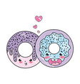 doodle kawaii nice sweet donut couple vector image vector image