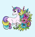 doodle unicorn lies in the colors vector image vector image