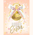 easter golden egg with silk bow in floral confetti vector image vector image