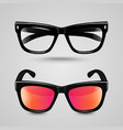 Eye glasses set Sunglasses and reading eyeglasses vector image
