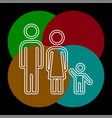 family icon people silhouette father mother child vector image vector image