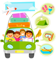 family vacation cartoons set vector image