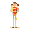 father carries the child in her arms vector image