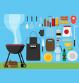 flat set of barbecue tools vector image vector image