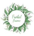 floral wreath with green leaves vector image