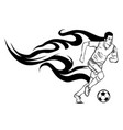 football soccer player silhouette with ball vector image vector image