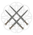 four crossed the vikings sword in the background vector image
