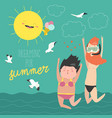 fun summer vacation couple young people man vector image