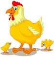 funny hen cartoon with her baby chicken vector image vector image