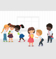 group multiethnic kids gossiping and bullying vector image vector image