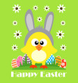happy easter card funny chicken vector image vector image