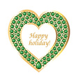 Heart of emeralds in a gold frame card vector image vector image
