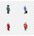 isometric human set of female guy hostess and vector image