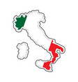 map of italy with its flag vector image vector image