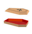 Open coffin on a white background Lid of a coffin vector image vector image