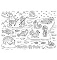 outline north pole animals eskimos and yurt vector image