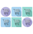 outlined icon of shopping trolley with plus sign vector image