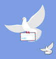 Postal pigeon and mailing envelope White Dove vector image vector image