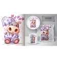 pretty hippo poster and merchandising vector image vector image